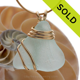 TOP quality piece of long aqua green Genuine Sea Glass set in a triple heavy goldfilled setting that maximizes metal yet leaves much of this great sea glass piece open. Sorry this piece of sea glass jewelry has been sold!