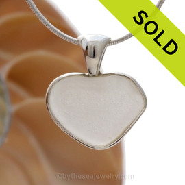 Pure Love- Small White Natural Sea Glass Heart In Deluxe Sterling Bezel© Necklace Pendant