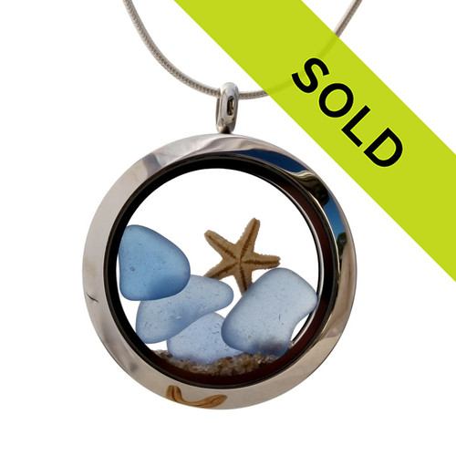 Carolina Stars In The Sky - Blue Sea Glass Locket With Starfish - September Birthstone Sorry this sea glass jewelry piece has been sold!