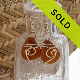 Amber Brown Sea Glass Earrings In 14K Goldfilled Sea Swirl Setting