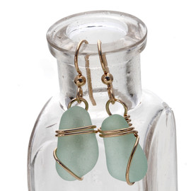 Simple and elegant sea glass earrings in gold