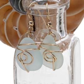 Pale Aqua Green Sea Glass In 14K Goldfilled Earring Sea Swirl Setting