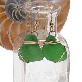 Perfect green sea glass earrings set in a triple sterling 14K Rolled Gold setting.