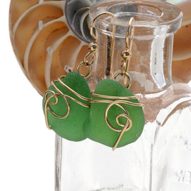 Perfect green sea glass earrings set in a sea swirl 14K Rolled Gold setting.