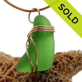 A very frosty genuine vivid green sea glass necklace pendant set in our triple rolled gold setting. SOLD - Sorry this Sea Glass Pendant is NO LONGER AVAILABLE!