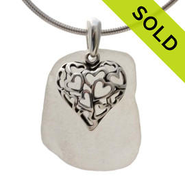 Sea Of Love - White Sea Glass Necklace W/ Puff Hearts in Heart Charm - S/S CHAIN INCLUDED