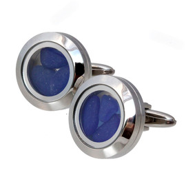 NEW ITEM - Blue sea glass in mini locket cufflinks. Great for a lady or man!