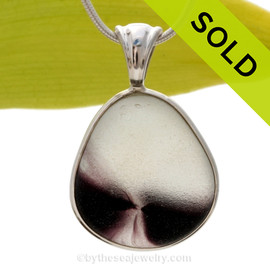 This an Ultra Ultra rare Seaham Sea Glass Mixed Purple or Aubergine necklace pendant is set in our Deluxe Wire Bezel© pendant setting. Sorry this piece of sea glass jewelry has been sold!
