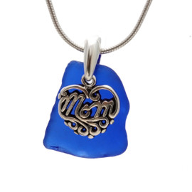 A nice piece of Good Quality Certified Genuine Sea Glass from North Carolina set with a detailed solid sterling Heart charm that lets MOM know you love her.