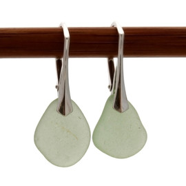 Natural sea glass pieces really on solid sterling silver leverbacks.