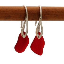 RARE Genuine Vivid Royal Ruby sea glass pieces on a solid sterling deco hook earring.