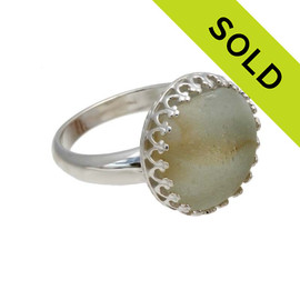 Orange & White Sea Glass Beach Found Marble Fragment In Sterling Ring - Size 7 (Re-sizeable)