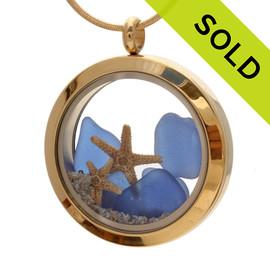 Mother & Child - Blue Sea Glass Locket Necklace W/ Starfish