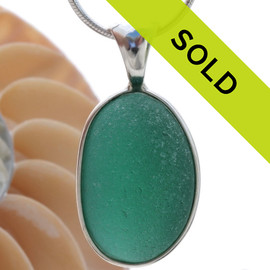 Thick Deep Aqua Green Sea Glass In Sterling Deluxe Wire Bezel© Necklace Pendant