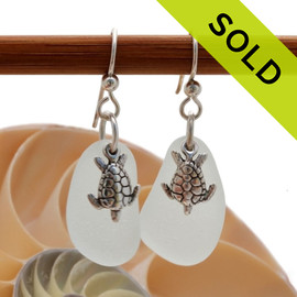 Airy and light pure white Sea Glass Earrings in sterling with sterling trutle charms! SOLD - These Sea Glass Earrings are NO LONGER AVAILABLE!