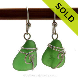 Vivid bright Mermaids Emeralds, genuine  green sea glass pieces set in a sterling silver for a lovely pair of sea glass  earrings. Sorry this sea glass jewelry selection has been sold!
