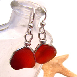 Great match in really rare Amberina Sea Glass Earrings in my Original Sea Glass Bezel© setting.  These riptide rubies really shine! This glass is unaltered from the way it was found on the beach.