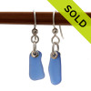 Simple irregular pieces of beach found blue sea glass set in a simple earring. SOLD - Sorry This Sea Glass Jewerly Selection Is NO LONGER AVAILABLE!