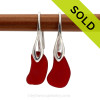 RARE Genuine Vivid Ruby Red sea glass pieces on a solid sterling deco hook earring. Sorry these Sea Glass Earrings have been SOLD!