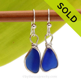 Smaller cobalt blue Sea Glass Earrings in our signature Original Wire Bezel©. Sorry this Sea Glass Jewelry Selection has been SOLD!