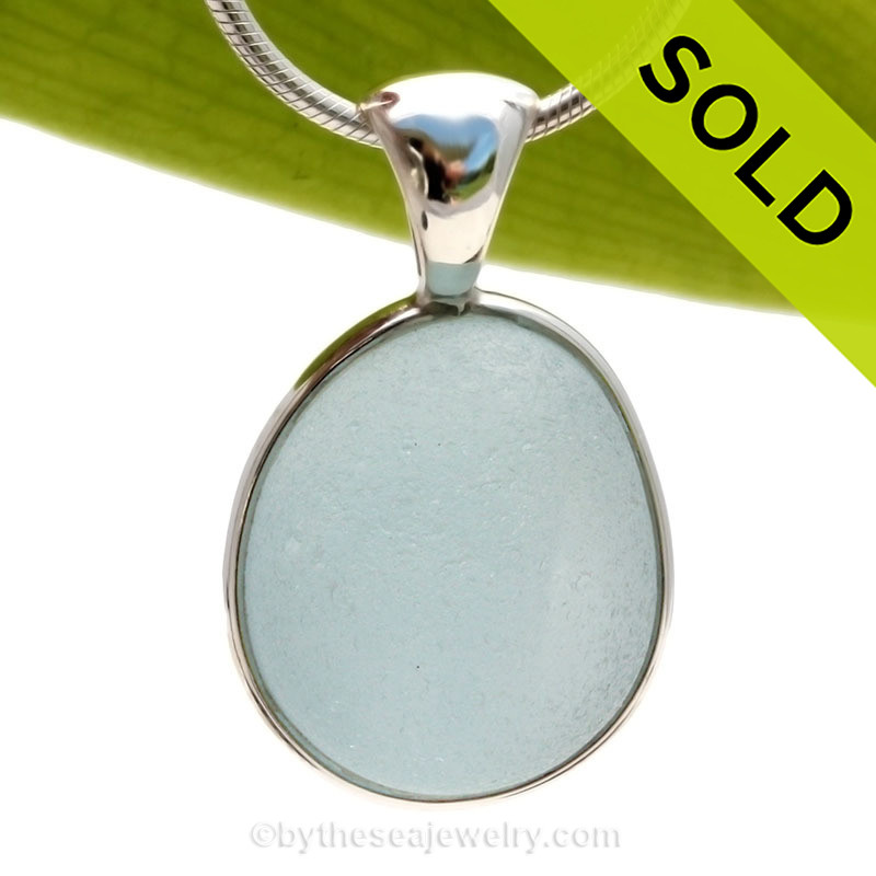 Thick Baby Blue English Sea Glass In Sterling Silver Wire Bezel ...