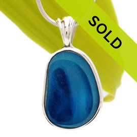 This is a LARGE Ultra Rare Seaham sea glass bright blue multi color pendant is set in our Deluxe Wire Bezel© pendant setting. Sorry this Ultra Rare Sea Glass Jewelry item has been sold!~