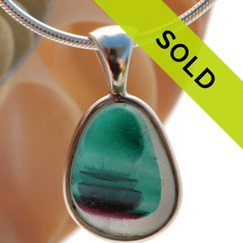 Petite Ultra Rare Teal & Purple Multi Seaham Sea Glass Pendant In Deluxe Wire Bezel Setting©