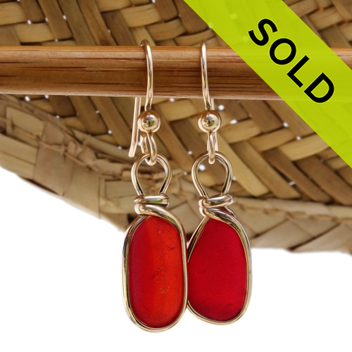 TOP QUALITY Certified Rare RED/ORANGE Genuine Sea Glass in our Original Wire Bezel© earring setting lets all the color of these beautiful gold set beach found sea glass pieces shine!