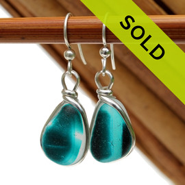 A great match in my English Multi Sea Glass Earrings in a vivid mixed Deep Aqua or Teal set in our Original Wire Bezel© setting in silver.  Sorry these sea glass earrings have already been sold!