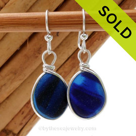 A great match in my English Multi Sea Glass Earrings in a vivid mixed deep cobalt Blue set in our Original Wire Bezel© setting in silver. Sorry this pair of Ultra Rare Sea Glass Earrings has been sold!