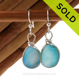 A great match in my English Multi Sea Glass Earrings in a vivid Mixed Electric Aqua set in our Original Wire Bezel© setting in silver. Sorry these Ultra Rare Sea Glass Earrings have been SOLD!