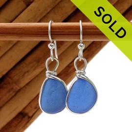 P-E-R-F-E-C-T Petite Brilliant Blue English Sea Glass Earrings In Sterling Original Wire Bezel©