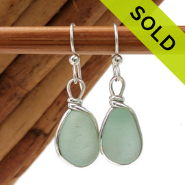 Perfect pieces of all natural genuine beach found sea glass in a beautiful Seafoam Green in our original Wire Bezel© Earring Setting. Sorry these Sea Glass Earrings are no longer available.