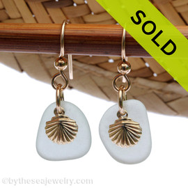 Perfect pale aqua green sea glass pieces set with goldfilled sea shell charms for a lovely lightweight pair of sea glass earrings. Sorry this Sea Glass Jewelry item has been SOLD!