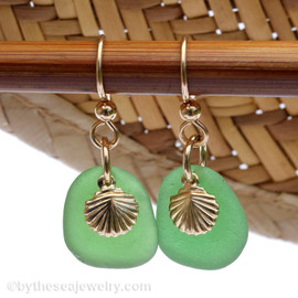 Perfect beach found green sea glass pieces are set with 14K Goldfilled charms on professional grade earring wires.