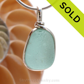 P-E-R-F-E-C-T & Thick Tropical Aqua Blue Genuine Sea Glass Pendant In Sterling Original Wire Bezel©