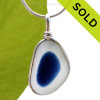 SOLD - Sorry this Ultra Rare Sea Glass Pendant is NO LONGER AVAILABLE! An rich vivid Royal Blue English Multi Sea Glass Pendant set for a necklace in our Original Sea Glass Bezel© in solid sterling silver setting.