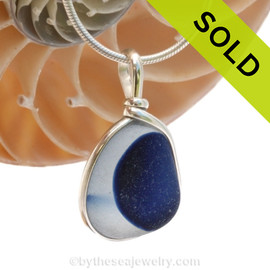 An rich vivid Royal Blue English Multi sea glass set for a necklace in our Original Sea Glass Bezel© in solid sterling silver setting. Sorry this sea glass jewelry pendant has been sold!