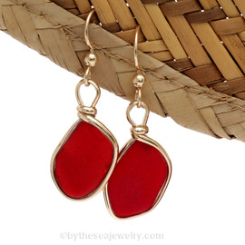 Vivid cherry red sea glass earrings set in our Original Wire Bezel© in silver.