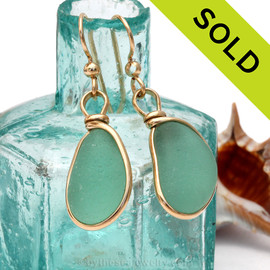 Stunning bright aqua green sea glass from Seaham England set in our Original Wire Bezel© 14K Rolled Gold earring. Sorry these Sea Glass Earrings have been SOLD!