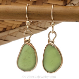 Genuine beach found vivid citron green sea glass earrings in a 14K Rolled Gold Original Wire Bezel setting.