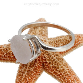 A stunning perfect white sea glass ring perfect for any sea glass lover!