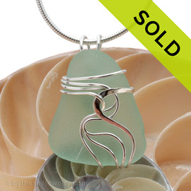 A beautiful natural sea glass jewelry set in our original signature setting in solid sterling silver. Sorry this Sea Glass Jewelry piece has been SOLD!