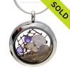 Stunning early 20th century purple or lavender sea glass combined with beach sand , real pearls and brightened up with amethyst gems makes this a great choice for a February Birthday! SOLD - Sorry This Sea Glass Jewelry Selection Is NO LONGER AVAILABLE