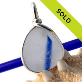 Blue Line- English Multi Sea Glass Original Sterling Bezel