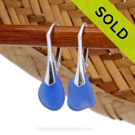 Small Rich Cobalt Blue Sea Glass Earrings On Silver Leverbacks