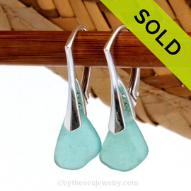 Simple beach found aqua sea glass pieces set on top quality solid sterling silver leverbacks. Sorry this Sea Glass Jewelry selection has been sold!