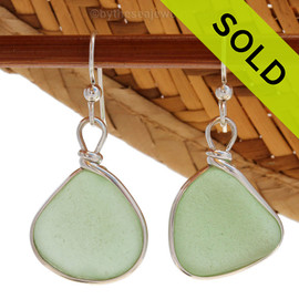 Genuine beach found Bright Seafoam Green Sea Glass Earrings in a Solid Sterling Silver Original Wire Bezel© setting. SOLD - Sorry these Sea Glass Earrings are NO LONGER AVAILABLE!