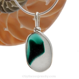 A vivid Teal Green English Multi sea glass set for a necklace in our Original Sea Glass Bezel© in solid sterling silver setting.
