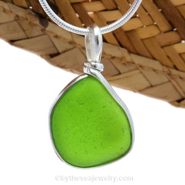 A LARGE and vivid Chartreuse or Electric Lime Green sea glass piece set in our Original Wire Bezel© setting.